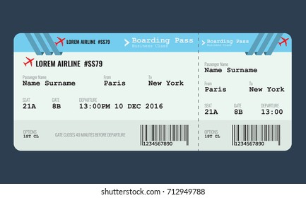 Vector Airplane ticket design template. Mock up for air ticket