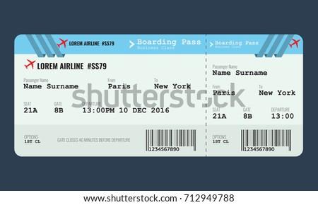 vector airplane ticket design template mock stock vector royalty