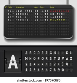 Vector airport board isolated. Realistic flip scoreboard airport template. Black 3d airport board with alphabet and numbers. Analog airport board font on dark background. Destination airline timetable