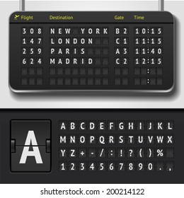 Vector airport board isolated. Realistic flip scoreboard airport template. Black 3d airport board with alphabet and numbers. Analog airport board font on dark background. Destination airline board eps