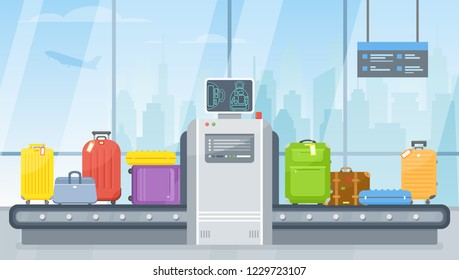 Vector airport police scanner and conveyor belt with passenger luggage bag, suitcase. Luggage carousel and baggage scan in flat style. Terminal hall illustration for travel, holiday, flight concept.