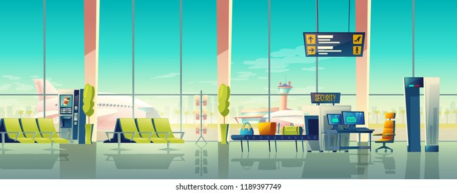 Vector airport waiting hall with security control. Big windows, seats and digital screen, departures and arrivals schedule. X-ray examination of baggage. Empty international terminal, metal detector.