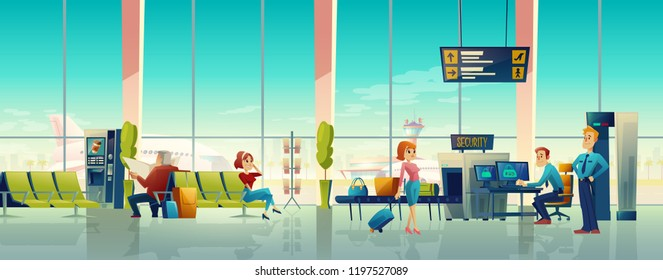 Vector airport waiting hall, security control with customs and passengers. Digital screen - departures and arrivals schedule in international terminal. Metal detector for X-ray examination of baggage