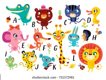 Vector A-K of the alphabet with cute little animals in cartoon style.
