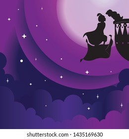 vector Aladdin and yasmin silhouette in Arabian night