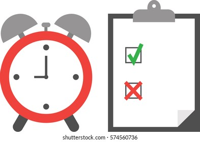 Vector of an alarm clock with clipboard and paper include boxes and green check mark and red x mark.