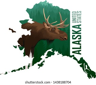 vector Alaska - American state map with moose
