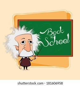 Vector Albert Einstein Cartoon In A Classroom Scene