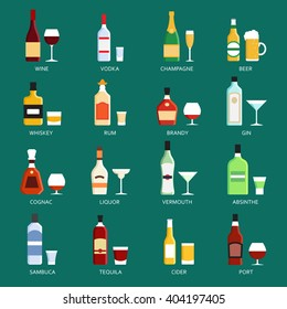 Vector alcohol bottles collection icons illustration. Vodka champagne wine whiskey beer brandy tequila cognac liquor martini vermouth gin rum absinthe sambuca cider port.