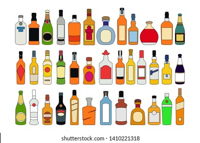 vector Alcohol bottles line icons set. illustration drinks. Object for advertising and web isolated on white background art