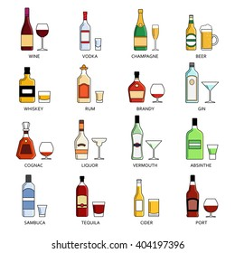 Vector alcohol list icons collection for bar menu. Vodka champagne wine whiskey beer brandy tequila cognac liquor martini vermouth gin rum absinthe sambuca cider port.