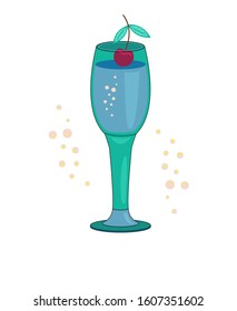 Vector. Alcoholic cocktail with lemon, bubbles and berries. Outline isolated on white background. Cartoon style Festive club parties summer cocktails. Various design elements for drink recipes.