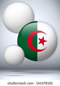 Vector - Algeria Flag Glossy Button