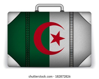 Vector - Algeria Travel Luggage with Flag for Vacation