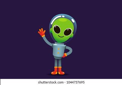 Vector alien character in space suit waving hand.