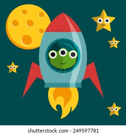 Vector alien in a rocket in space with stars and moon in a flat design.