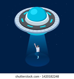 Vector aliens abduct man. UFO flying spaceship isometric design. UFO kidnaps man vector illustration. Kidnapping alien, space imagine sci-fi, flying ufo