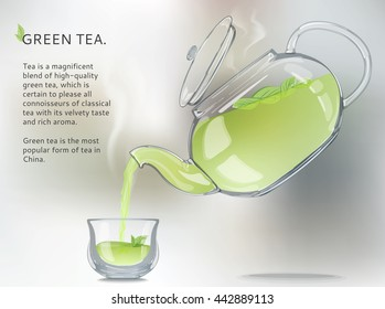 Vector. All picture elements are separated from each other. Glass teapot pours into the transparent cup of green tea. Use decorating design web, wall, greeting, wedding cards.