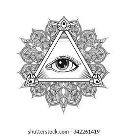 Vector All seeing eye pyramid symbol. Tattoo design. Vintage hand drawn freedom, spiritual, occultism and mason sign in doodle style.  Eye of providence  with mandala.