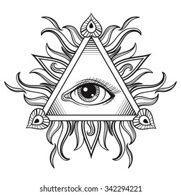 Vector All seeing eye pyramid symbol in tattoo engraving design. Vintage hand drawn freedom, spiritual, occultism and mason sign in doodle style.  Eye of providence illustration.