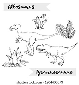 Vector Allosaurus and Tyrannosaurus with plant and stone over white.Jurassic Wildlife.Wild animals dinosaurus. Ancient animal character.Wild creatures of the Jurassic period.Black  icon dinosaurs
