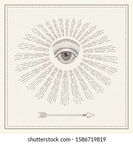 Vector all-seeing eye with light ray, monochrome hand drawn sketch