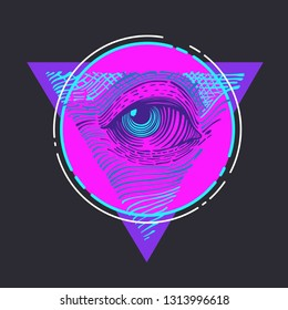 Vector all-seeing eye sign icon. Masonic symbol All-seeing eye in cyber-punk colors. Illustration of the all-seeing eye of God in flat minimalism line style.