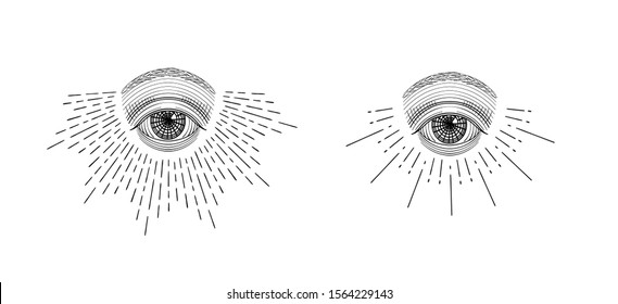 Vector all-seeing eye, eye in the sky with light ray, symbol of the Masons, Illuminati, vintage engraved, monochrome hand drawn sketch illustration, tattoo design