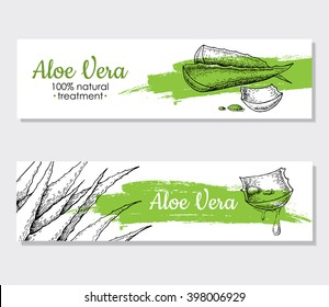 Vector aloe vera hand drawn illustrations. Detailed drawing. Aloe Vera banner, poster, label, brochure template for business promote.