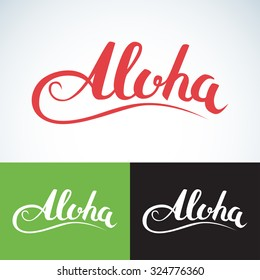 Vector aloha word, vintage style. Summer apparel print design, t shirt graphics.