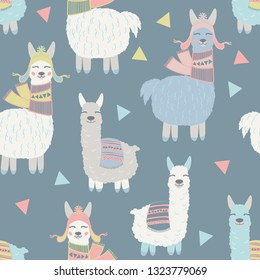 Vector alpaca and llama pattern for kids. Colorful seamless alpaca, triangle and llama pattern. Perfect for greetings, invitations, manufacture wrapping paper, textile and web design. Vector pattern