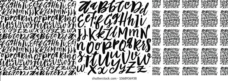 Vector Alphabet Backgrounds. Hand Lettering and Texture Typography for  Designs: Wallpaper Patterns, for Posters, Cards, etc.