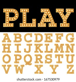 Vector alphabet with bulbs.