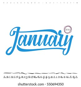 Vector Alphabet. Calligraphic font. Unique Custom Characters. Hand Lettering January for Designs - logos, badges, postcards, posters, prints. Modern brush handwriting Typography.