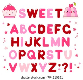 Vector alphabet with caramel candy shiny letters of brown, lilac and red colors. For sweet design. EPS8