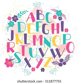vector alphabet for children. beautiful lettering, hand-drawn letters. for typography, designs, logo,  posters, invitations, cards