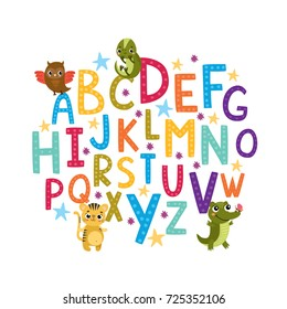 vector alphabet for children. beautiful lettering, hand-drawn letters. for typography, designs, logo,  posters, invitations, cards. owl, iguana, tiger, crocodile, alligator
