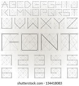 Vector Alphabet Collection. Vintage Geometric font constellation. Vector, retro background. Molecular structure alphabet.