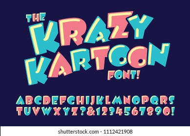 A vector alphabet in a crazy and goofy cartoon style.