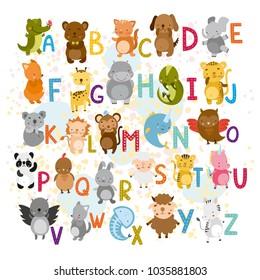 vector  alphabet with cute animals. zoo. bear, cat, hare, sheep, crocodile, hippopotamus, fox, fish, bird