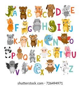 Vector alphabet cute cartoon animals for kids