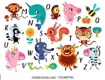 Vector alphabet with cute little animals in cartoon style. Part 2. M, N, O, P, Q, R, S, T, U, V, V, X, W, Z.