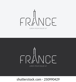 Vector alphabet france design concept with flat sign icon/ can be used for travel publishing or web design layout.