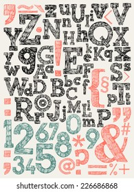 Vector alphabet and general typography elements and numbers | Sketchy creative letters collection hand drawn with ink pen for lettering posters, ads, headers, banners and more