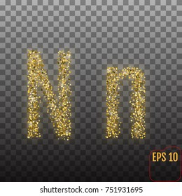 Vector Alphabet. Gold letter N on transparent background - vector illustration.