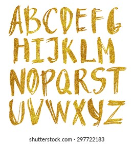 Vector alphabet in gold sequins. Hand drawn letters with sequins. Letters of the alphabet made up of gold spangles.
