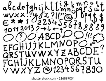Vector alphabet. Hand drawn letters and numbers. The letters are drawn with a felt-tip or flip chart pen.