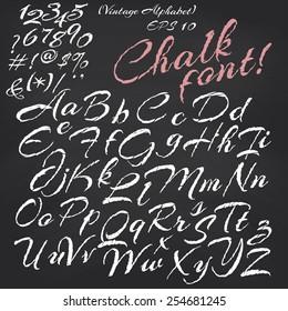 Vector alphabet. Hand drawn letters. Chalk font on blackboard background