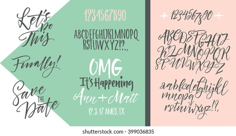 Vector alphabet. Hand drawn letters. Letters of the alphabet written with a brush. Wedding invitation set