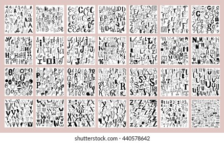 Vector alphabet. Hand drawn. Letters of the alphabet written with a brush, pencil and marker. With numbers, ampersands and catch words.